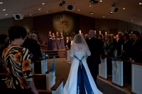 the bride walking down the aisle.