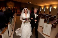 the happy couple coming down the aisle.
