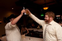 The groom and best man in a final toast for the night.